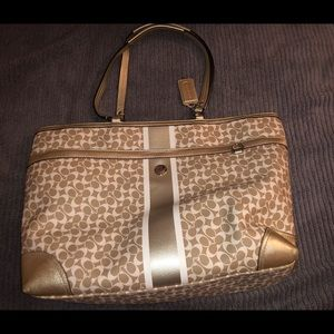 Gold and Cream Coach Large Tote
